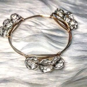 🆕 Clear Beaded Gold Wire Wrapped Bangle